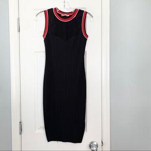 Zara Special T black red ribbed sporty tank dress